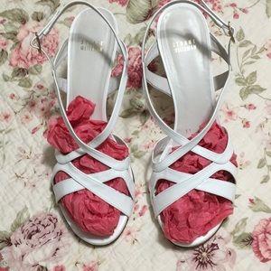 Stuart Weitzman white patent leather heels